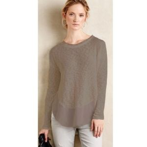 Anthropologie Deletta Nubby Circle Sweater Taupe